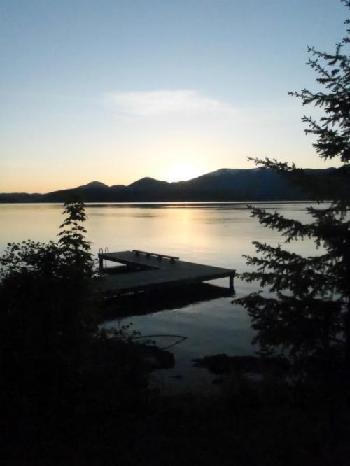 Idaho - Sleep's Cabins dock at sunset
