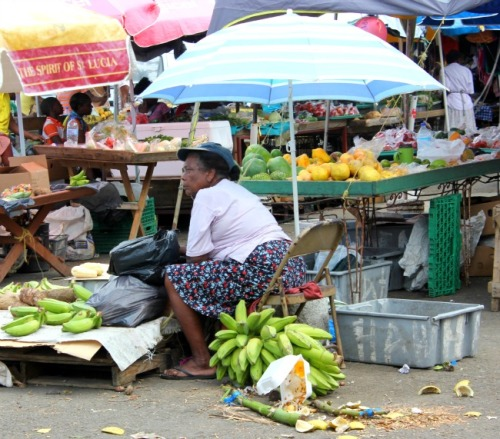 St Lucia - Castries market seller