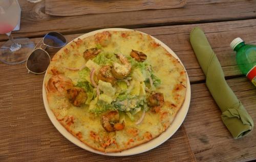 Anguilla - Davida's shrimp caesar salad pizza